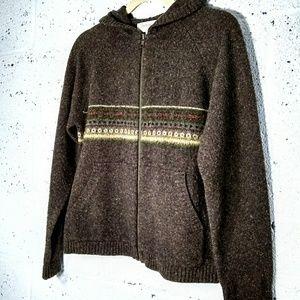 Jones New York Small Wool Zipper Cardigan W/ Hood